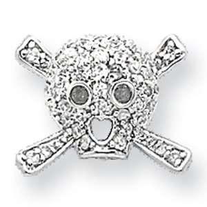 CZ Skull Post Earrings in Sterling Silver Jewelry