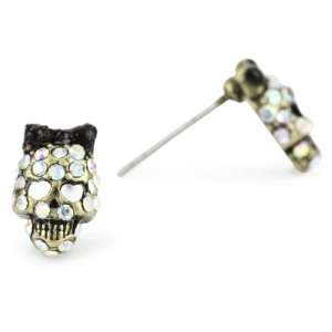 Johnson Dark Forest Small Crystal Skull Stud Earrings Jewelry