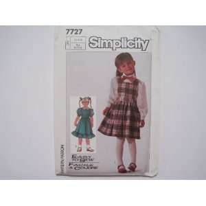 Simplicity Pattern 7727 Childs Jumper and Blouse Sizes 3