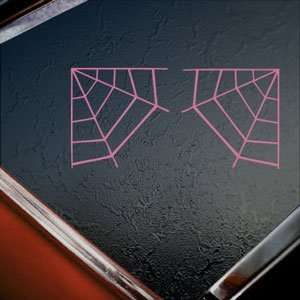 Corner Spider Web Pink Decal Car Truck Window Pink Sticker