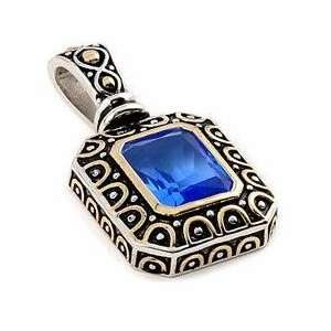 Sterling Silver Blue Topaz Square Gold Plated Pendant Jewelry