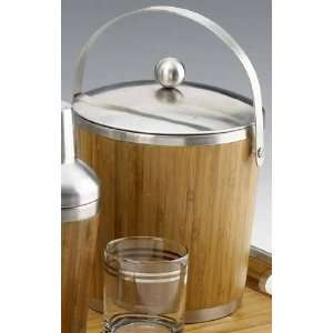 Madera Bamboo 4 Quart Ice Bucket with Stainless Steel Cover and Handle