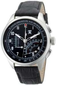Linear Chronograph Stainless Steel Black Leather Strap Watch Watches