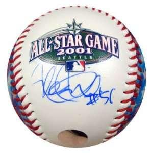 Ichiro Suzuki Autographed Ball   2001 All Star Logo American Flag