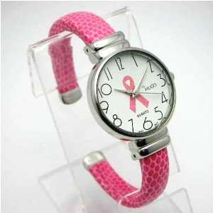 Breast Cancer Awareness Pink Ribbon Cuff Watch Office