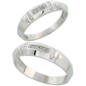 Sterling Silver Diamond Wedding Rings Set for him 5.5 mm and her 4 mm