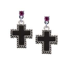 Border Hot Pink Swarovski Post Charm Earrings [Jewelry] Jewelry