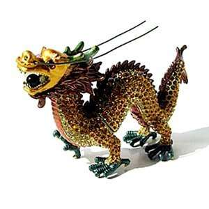 24k Gold Plated Enamel Swarovski Crystal DRAGON Keepsake