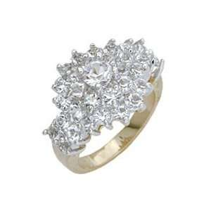 Cluster Clear Swarovski Crystal Two Tone Ring, Size 5 11 Jewelry