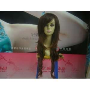 Long High Quality Synthetic BrownGolden Curly Hair Wig Beauty