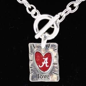 NCAA Alabama Crimson Tide Team Color Love Necklace Sports
