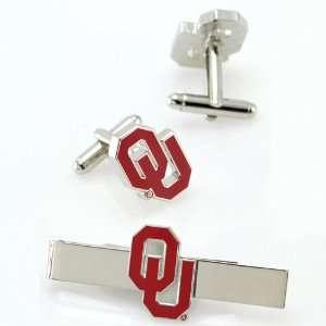 NCAA Oklahoma Sooners Silvertone Team Logo Tie Clip & Cufflinks Set