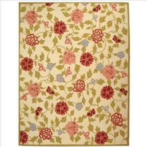 by 9 Feet Hand Hooked Wool Area Rug, Ivory and Green