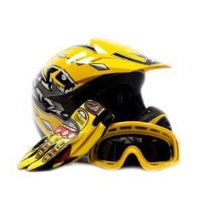 Youth Motocross ATV Helmet Dirt Bike MX , Gloves and Goggles Yellow