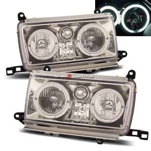 91 97 Toyota Land Cruiser Headlights   Chrome Crystal Halo