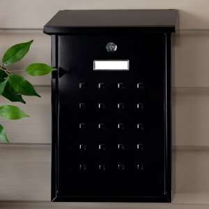 Premium Locking Wall Mount Mailbox   Black Powder Coat
