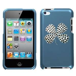 Blue and White Crystal Rhinestone Bling Bling Lucky Four Leaf Clover