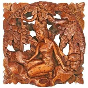 Bali Hand Carved~Mirroring 1~Wood Sculpture~Wall Decor