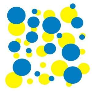 set of 106 Blue and Yellow polka dots Vinyl wall lettering