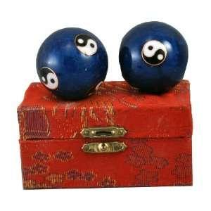 Chinese Blue Yin Yang Chi Balls, Hand Massage Balls, Cloisonne Balls
