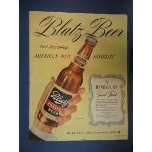 Magazine ad. bottle in hand,a handful of good taste.