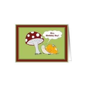 Boy Birthday   Smiling Snail and Toadstool Card Toys