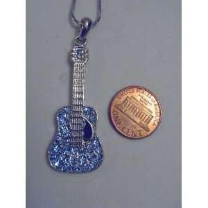 Silver and Blue Swarovski Crystal Guitar Necklace