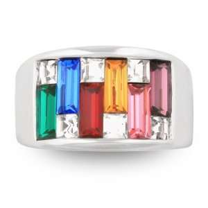 Silver Tone Multi Color Crystal Cocktail Ring with Gift Box Jewelry