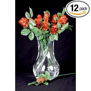 Chocolate Roses Dozen Red Foil Gift Box (Dark Chocolate):