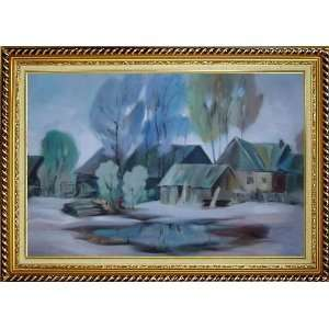 Remote Hamlet Oil Painting, with Linen Liner Gold Wood Frame 30.5 x