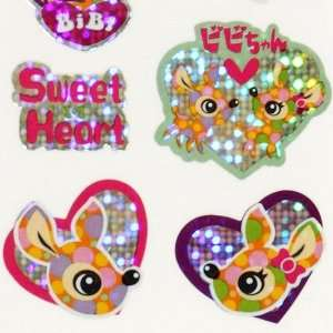 cute glitter deer sticker with rainbow hearts Toys & Games