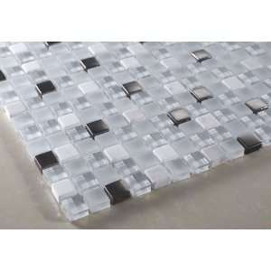 Ice Princess Glass Mosaic Tile   White, Clear Glass & White Marble 5/8