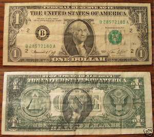 Two Faced Dollar Bill, Rare US Currency, Circulated