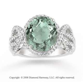 14k White Gold 4.20 Carat Green Amethyst 1/2 Carat Diamond Ring
