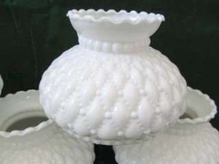 Vintage FENTON Quilted Diamond Opaque White Milk GLASS Oil Lamp SHADE
