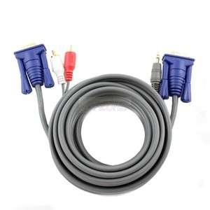 New 6 feet VGA + 3.5mm Stereo Plug to VGA + 2 RCA Plugs Cable