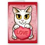 Lil Valentine White Cat Candy Heart Love Art Card by TigerpixieArt