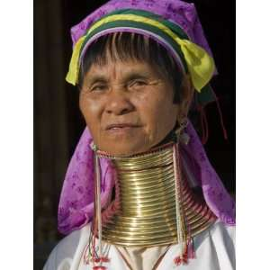 Woman of Karen Sub Tribe Wearing Brass Necklace Which Elongates