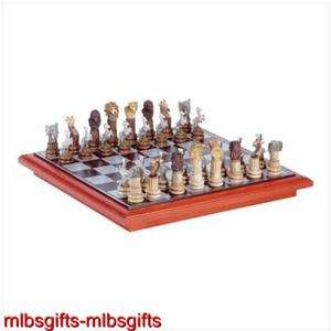 African Prideland Wild Safari Animal Classic Chess Set