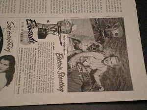 1954 Evinrude Outboard Motor RARE Small Ad Lady Dog