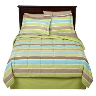 King Bed in a Bag Comforter Set Turq Blue Green Stripes