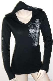 CROSS ANGEL WINGS TATTOO BLACK HOODIE T SHIRT TOP L & ED HARDY PERFUME