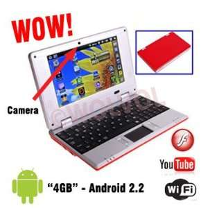 ANDROID RED 7 Mini Laptop Notebook Netbook PC WiFi TONS