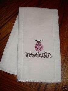 Baby Girl Cloth Diaper Burp Pad Brown/Pink Ladybug/Name