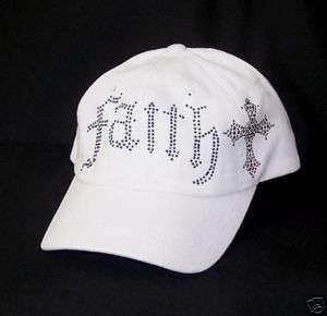 FAITH BLACK RHINESTONE CROSS WHITE BASEBALL HAT CAP