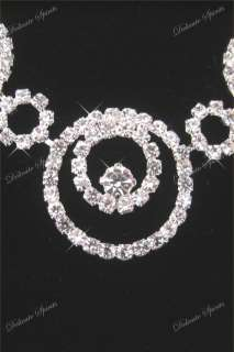 RHINESTONE WEDDING BRIDAL PROM NECKLACE EARRINGS SET