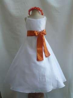NEW WHITE ORANGE BRIDAL PARTY WEDDING FLOWER GIRL DRESS