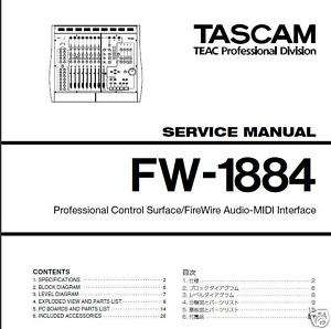 TASCAM FW 1884 Service Manual Schematic Diagrams New CD