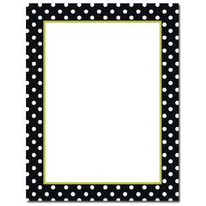 100 Black and White Dots (With Green Inside Border) Letterhead Sheets