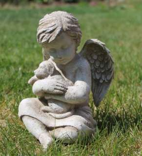 Angel w/Dog Puppy Pet Memorial Statue Garden Decor 013051306526